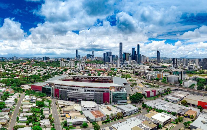 Aerial panorama - Suncorp Stadium & Brisbane CBD