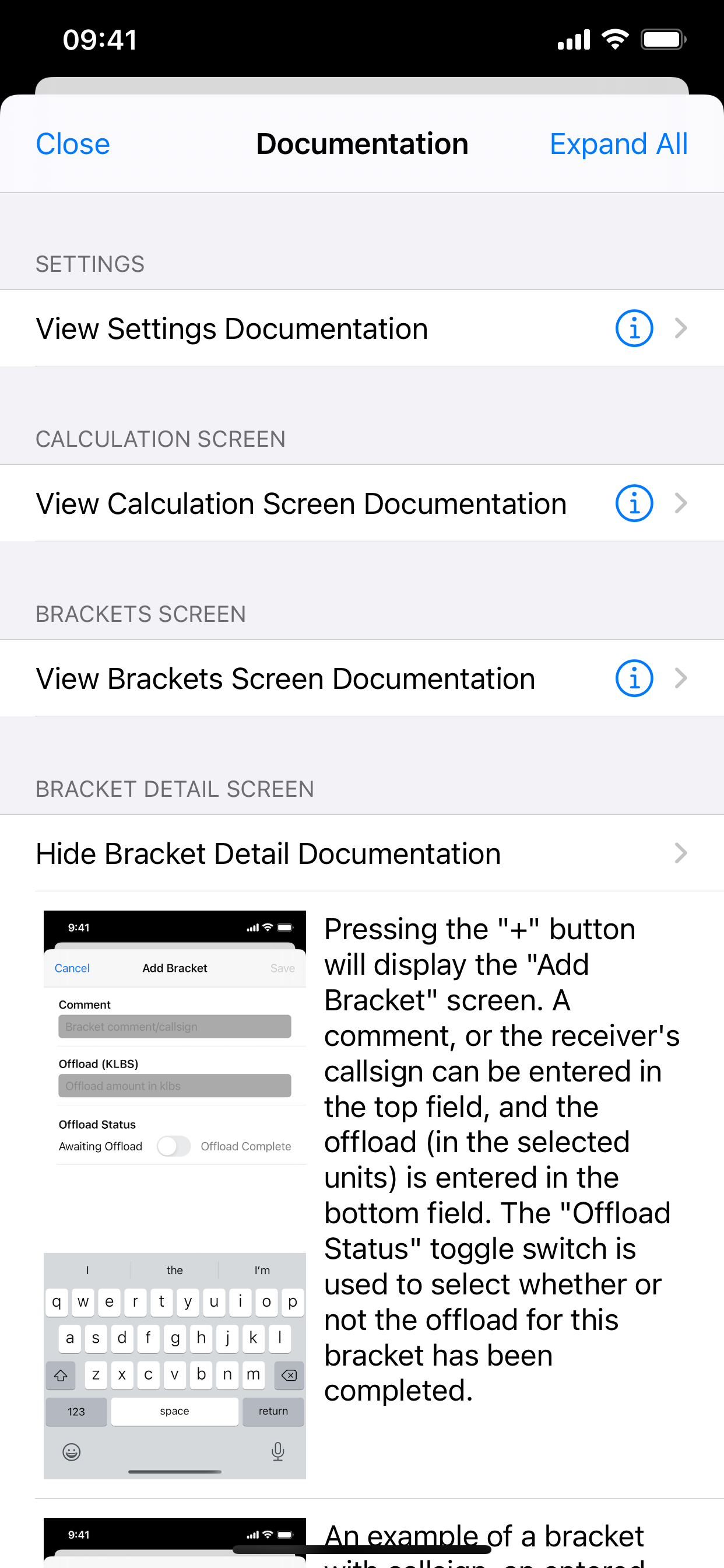 Frag Calc app documentation screen